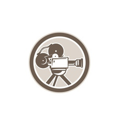 Film Movie Camera Vintage Circle Retro vector image vector image