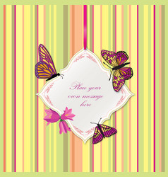 flower frame greeting card border decor floral vector image vector image