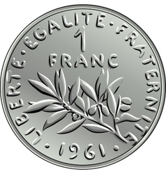 French money coin one franc obverse vector