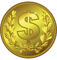 gold Money Dollar coin vector image vector image