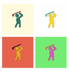 Golf sport golfer man set vector