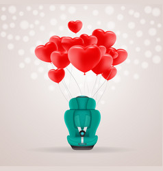 Green child car seat with red baloons in shape of vector