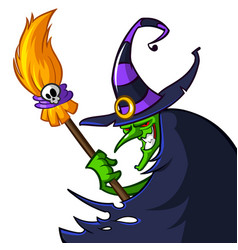 halloween ugly witch in a hat with a broom vector image