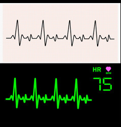heart cardiogram waves on graph paper and on vector image
