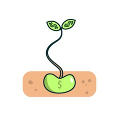 Isolated cartoon little investment green seed vector
