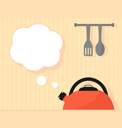 kettle seething on kitchen interior vector image vector image