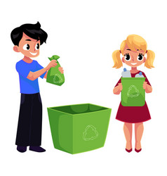 Kids children throw plastic bottles in trash vector