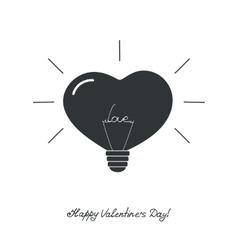 Lamp in the form of heart with the word love vector