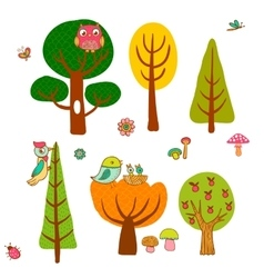 Lovely magic forest in cartoon style vector image