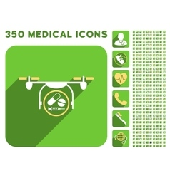 Medication quadcopter icon and medical longshadow vector