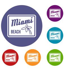 Miami beach icons set vector