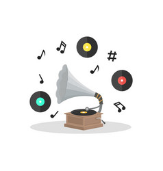 Old gramophone and vinyl disc set vector