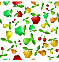 polygonal pear apple seamless pattern vector image