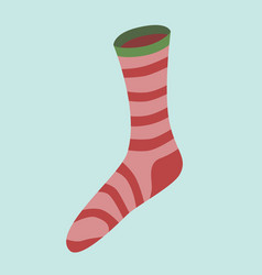 Red striped christmas sock vector