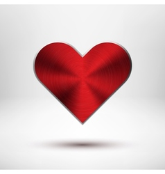 Red Valentiness Day Heart with Metal Texture vector image