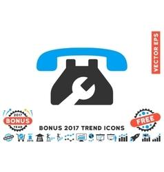 Repair service phone flat icon with 2017 bonus vector
