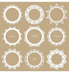 Round lacy doilies set Decorative frames vector image vector image