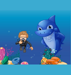 scuba diver and shark underwater vector image vector image