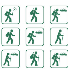 set of hiking icons vector image vector image