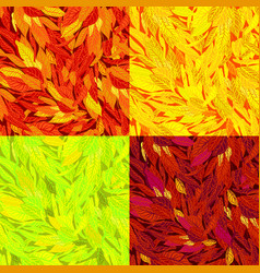 set of seamless pattern with autumn leaves vector image
