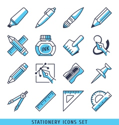 Stationery icons set vector image vector image