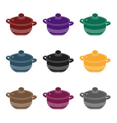 stockpot icon in black style isolated on white vector image