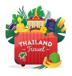 Thailand travel flat symbols composition poster vector