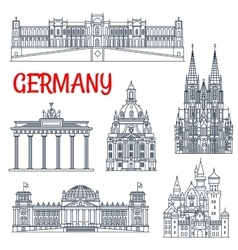 Tourism thin line Germany remarkable landmark vector image