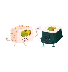 Two cute and funny japanese nori seaweed roll vector