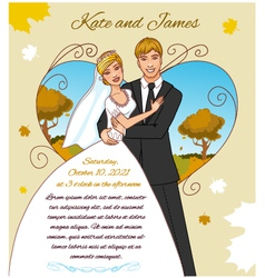 Young couple on the autumn background vector image