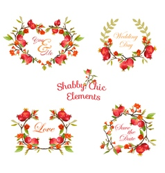 Pomegranates floral banners and tags vector