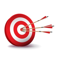 Archery target with arrows vector