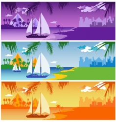 sailing in harbor vector image