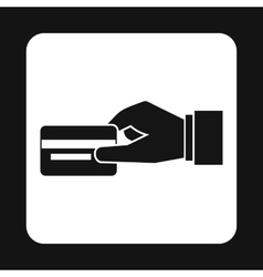 Hand holding credit card icon simple style vector