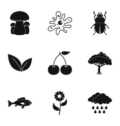 Environment icons set simple style vector