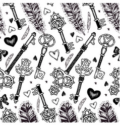 Seamless pattern with feathers and keys vector