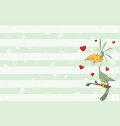 Valentines card with green parrot vector