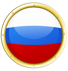 Russia flag on round button vector