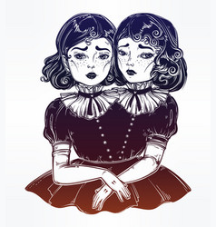 Portrait of victorian circus siamese twins vector