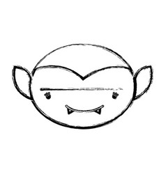 Figure man face vampiere with fangs vector