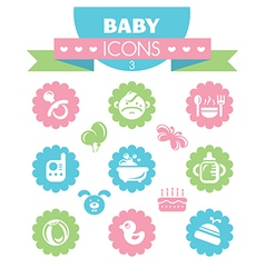 Collection of universal baby icons vector