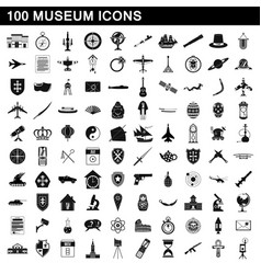 100 museum icons set simple style vector image