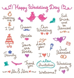 Wedding letterings vector