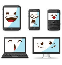 Gadget smart phone laptop computer with funny vector