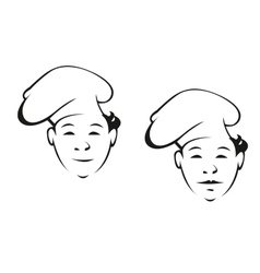 Smiling young chef in a toque vector image