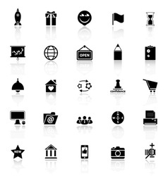 Business startup icons with reflect on white vector