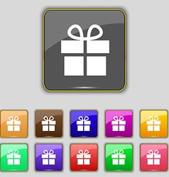 Gift box icon sign set with eleven colored buttons vector