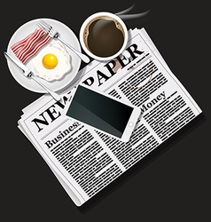 Newspaper and cellphone with coffee and breakfast vector