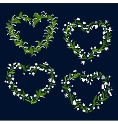 Floral heart frames with white flowers vector