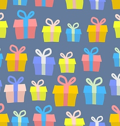 Gifts seamless pattern background of colored boxes vector